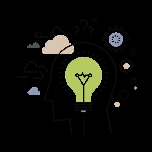 Schema eines Kopfes mit Glühbirne Symol für Denkweise