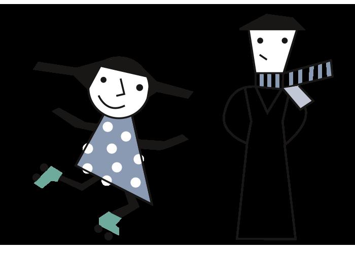 Mädchen mit Kleid und Rollschuhen Mann mit Schal und Hut