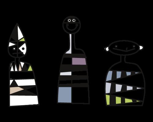 Trio für Vielfalt drei abstrakte Männchen