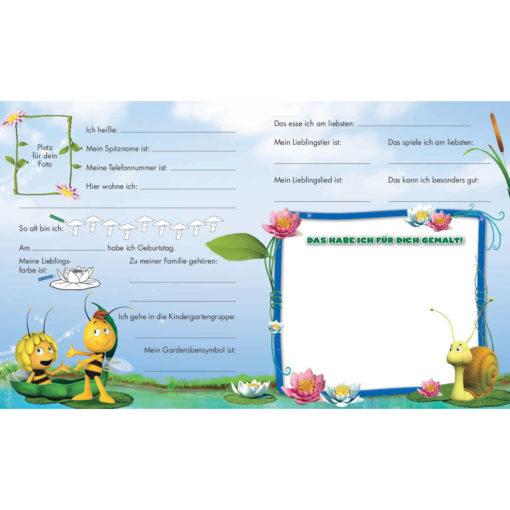 Innenseite Biene Maja Kindergartenfreunde blauer Rahmen