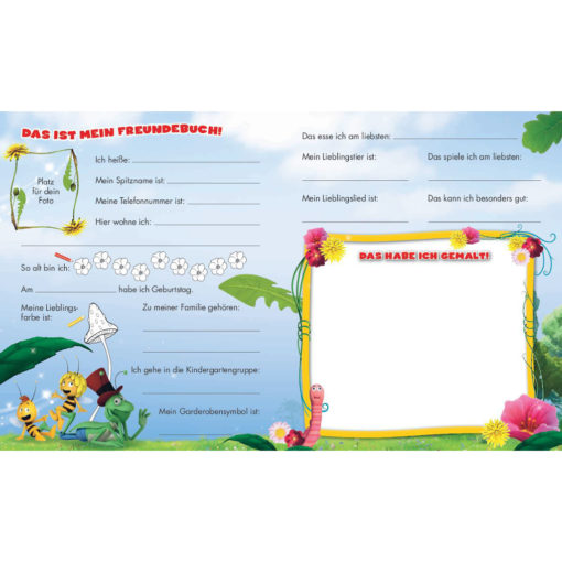 Innenseite Biene Maja Kindergartenfreunde gelber Rahmen