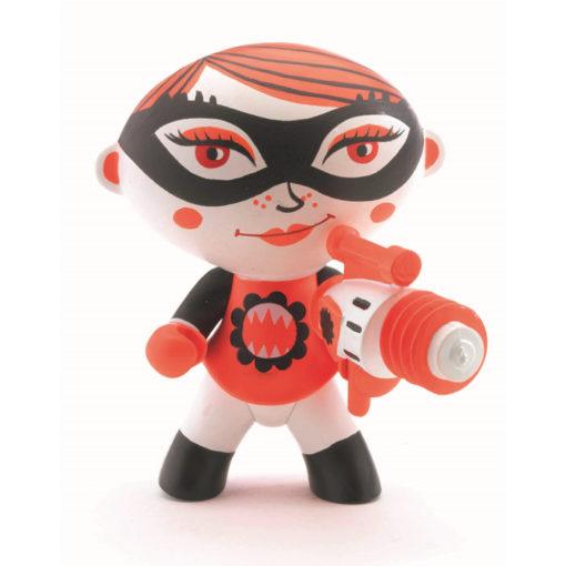 weiße Superheldin mit Augenmaske Bazooka