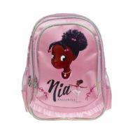 rosafarbener Rucksack mit Schwarzem Mädchenkopf