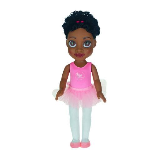 Schwarze Puppe mit großen Augen im rosa rütü