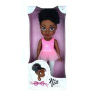 Schwarze Puppe im rosa Tütü im Verpackungskarton