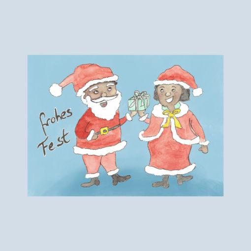 Postkarte Schwarze Weihnachtsfrau und Weihnachtsmann