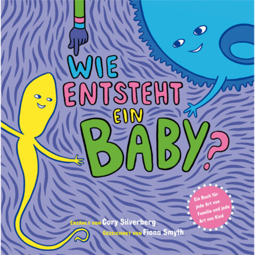 Buchcover: wie entsteht ein Baby: gelbes Spermium, blaue Eizelle Lila Hintergrund