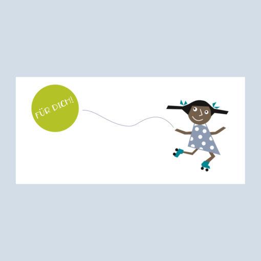Gutschein Klappkarte, Schwarzes Mädchen, grüner Ballon, Schriftzug für dich