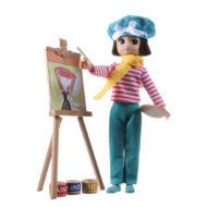 Puppe Lottie Always Artsy ausgepackt vor Staffelei und Zubehör