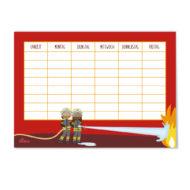 Helller Stundenplan mit rotem Hintergrund, ein Schwarzes Feuerwehrmädchen, ein Schwarzer Feuerwehrjunge