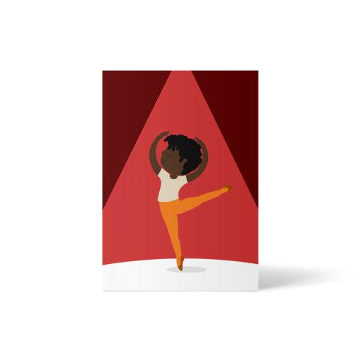 ein Schwarzer Ballett-tanzender Junge - Ballerino vor rotem und bordeauxrotem Hintergrund. Postkarte A6 von ellou