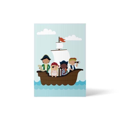 Vielfalt bei der Schatzjagd: Postkarte mit 4 verschiedenen Kindern, sowohl unterschiedliche Hautfarben als auch Geschlechter. Postkarte A6 von ellou