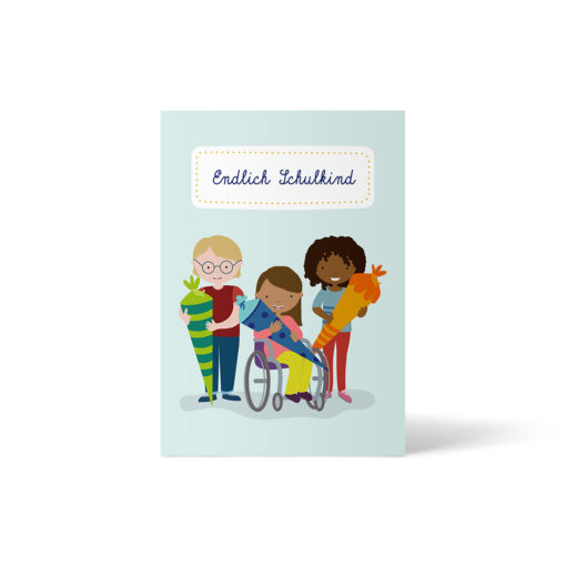 Postkarte zum Schulanfang: ein weißes Kind mit Brille, ein Kind of Color im Rollstuhl, ein Schwarzes Kind mit Schultüte. Postkarte A6 von ellou