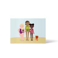 Drei Mädchen mit ganz unterschiedlichen Figuren und Hautfarben stehen am Strand. Postkarte A6 von ellou