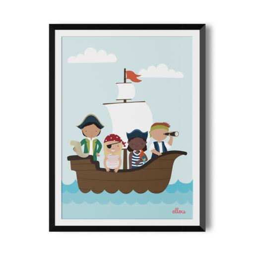 4 Kinder auf einem Segelschiff, angezogen wie Piraten und Piratinnen, Mädchen wie Jungen hellhäutig wie dunkelhäutig, vielfältige Kinder