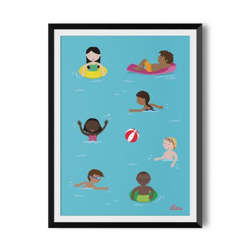 6 Kinder im Wasserbecken, vielfältige Kinder mit verschiedenen Hautfarben und Ethnien, beide Geschlechter