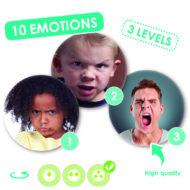 Die drei Karten für das Gefühl Wut sind abgebildet. Runde Karten mit drei verschiedenen Menschen unterschiedlichen Alters und Hautfarbe.