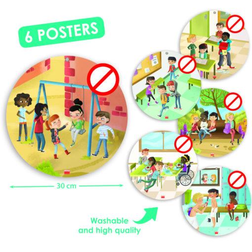 6 runde Poster mit Mobbing Szenen aus dem Grundschulalltag: verhöhnen, ärgern, etwas stehlen oder zustecken, Beinchen stellen, ausgrenzen, cyber mobbing.
