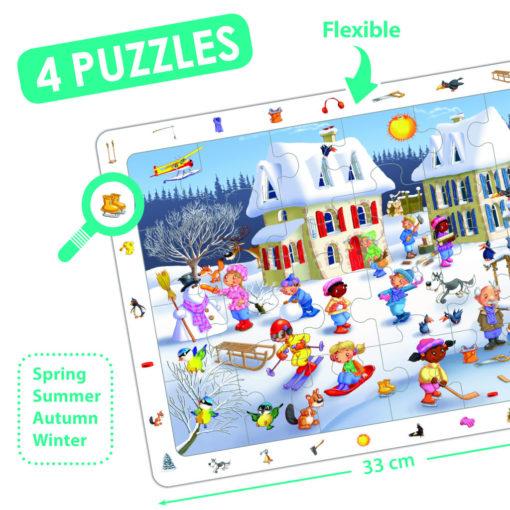 Auf diesem Wimmelbild Puzzle im Winter gibt es viel zu entdecken. Viele Tätigkeiten, die den Winter schön machen: Schneemann bauen, Schlitten und Ski fahren, Eishockey spielen und eine Schneeballschlacht. Eine Schwarze Frau und zwei Schwarze Kinder sind dabei. Sie machen das Puzzle etwas vielfältiger als die gängigen Puzzle es sind.