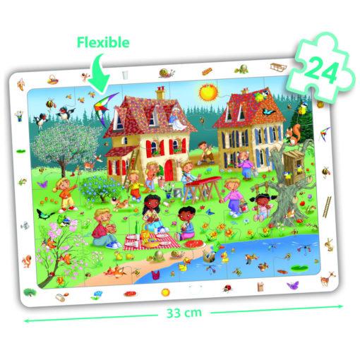 Auf diesem Wimmelbild Puzzle im Frühjahr gibt es viel zu entdecken. Viele Tätigkeiten, die den Frühling schön machen: Picknick, schaukeln, das Feld bestellen und im Garten arbeiten. Eine Schwarze Frau und zwei Schwarze Kinder sind dabei. Sie machen das Puzzle etwas vielfältiger als die gängigen Puzzle es sind. Englischer Titel: Set observation puzzles the four seasons 50524 von akros