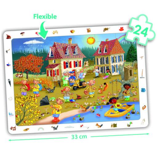 Auf dem Wimmelbild Puzzle Herbst geht es bunt zu. Ein Schirm ist umgeklappt und auch sonst gibt es viel zu entdekcen.