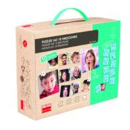 Puzzle 10 Emotionen- stabiler Pappkarton mit Kunststoffgriff. Übersicht des Inhals- 10 Puzzle mit Fotos von Menschen. Englischer Titel: Puzzle the 10 emotions von akros 20544.
