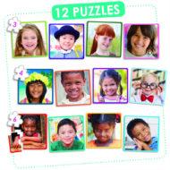 Übersicht der 12 Puzzles Happy Children of the World von Akros. Quadratische Puzzles mit Fotos von unterschiedlichen Kindern. Je Puzzle ein Kind. Gezeigt sind unter anderem ein Kind mit Down-Syndrom, ein Kind mit Brille sowie weiße, Schwarze und Kinder of Color.