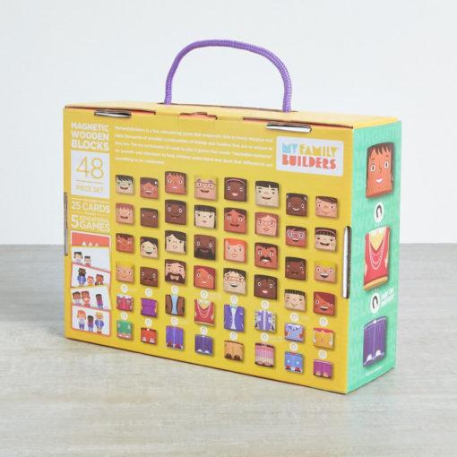 Rückseite Karton My Family Builders 48ig teilieges Set. Abbildung der enthaltenen 48 Teile. Plus Beispielkarten aus dem enthaltenen Kartenset.