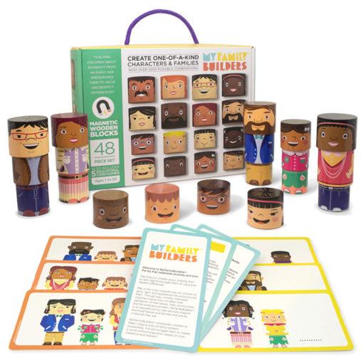 Karton My Family Builders - friend editon mit 32 magnetischen runden Holzklötzen, aus denen Figuren gebaut werden können. Einige Beispielfiguren und Spielkarten sind vor dem Karton zu sehen. Z.B verschiedene Köpfe, Oberkörper und Unterkörper. Eine Figur wird immer aus diesen 3 Elementen zusammengesetzt.
