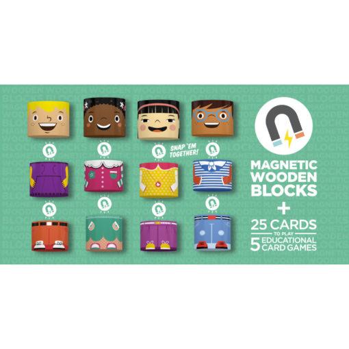 Graphik, die visuell und sprachlich beschreibt, dass die Bausteine magnetisch sind und zusammengebaut werden. Plus 25 Spielkarten, mit denen 5 lehrreiche Kartenspiele gespielt werden können.