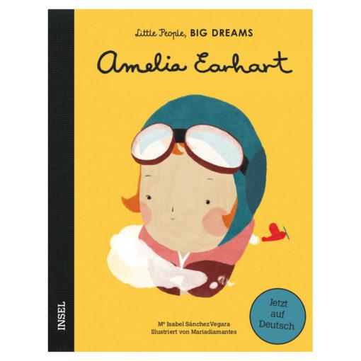 Cover: Graphik von Amelia Earhart mit Pilotenmütze und -brille.
