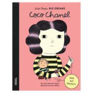 Cover: Graphik von Coco Chanel, die eine Puppe in der Hand hält und Nadel und Faden