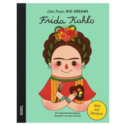 Cover: Graphik von Frida Kahlo mit Blumenschmuck im Haar, Pinseln und Farbpalette in den Händen.