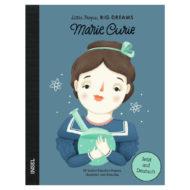 Cover: Graphik von Marie Curie mit Glaskolben in den Händen