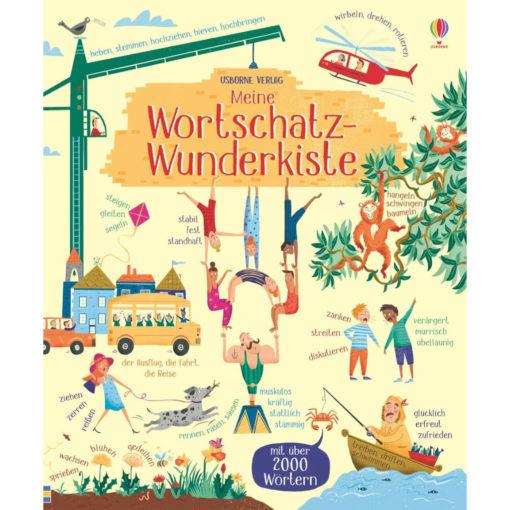 """Buchcover """"meine Wortschatz-Wunderkiste"""". Detailreiches Cover mit vielen Menschen und Wörtern. Wortbeispiele: muskulös, kräftig, stattlich, stämmig für den Artisten, der 6 Menschen trägt"""