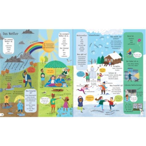 Beispielseite Wette: verschiedene Wetterlagen und Jahreszeiten sind gezeigt, und was Menschen machen bei unterschiedlichem Wetter.