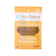 Pflaster in mittelbraun dunkle Hautfarbe. Orange Verpackung, 20 Stück