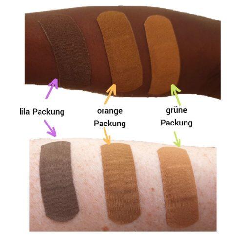 Arm eines Schwarzen Menschen und Arm eines weißen Menschen mit Pflastern dunkle Hautfarbe zum Vergleich der drei Farben Tru-Colours