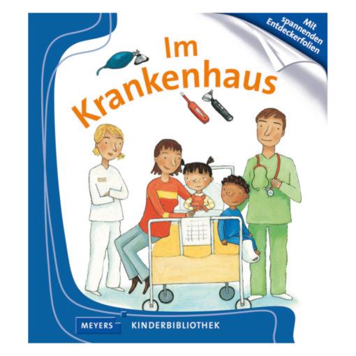 Cover im Krankenhaus. Frau sitzt mit zwei Kindern auf einem Krankenhausbett. Eines der Kinder hat ein Gipsbein. Neben dem Bett stehen zwei weitere Menschen