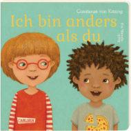 Cover Ich bin anders als du. Ein Wendebuch. Abgebildet blondes weißes Kind mit Brille und Schwarzes dunkelhaariges Kind