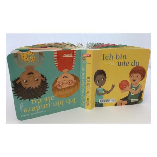Cover Vorder- und Rückseite des Wendebuchs Ich bin anders als du. Zeigt Leserichtungen
