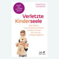 Cover: Verletzte Kinderseele von Dorothea Weinberg. Was Eltern traumatisierter Kinder wissen müssen. Kind hält großen Teddy fest an sich gedrückt im Arm.