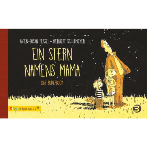 Buchcover. Illustration: Ein Erwachsener und zwei Kinder schauen in den Sternenhimmel