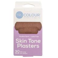 Hautfarben Pflaster in Dunkelbraun für dunkelhäutige Menschen, bpoc, zwei Größen, je 15 Stück, lila Verpackung Vorderseite