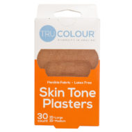 Pflaster in mittelbraun dunkle Hautfarbe. Orange Verpackung, 30 Stück (15 klein, 15 groß)