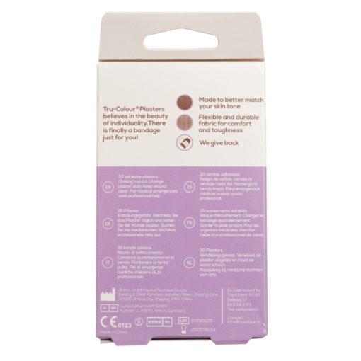 Hautfarben Pflaster in Dunkelbraun für dunkelhäutige Menschen, bpoc, lila Verpackung, Rückseite