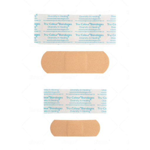 Pflaster in beige helle Hautfarbe - Gewebestruktur sichtbar. Verpackung Aqua