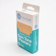 Seitenansicht Verpackung: 30 Pflaster Hautfarben beige - kaum sichtbar auf heller Haut / für weiße Menschen