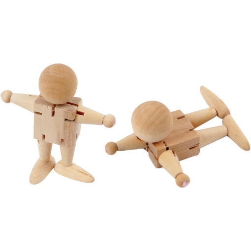 Zwei Holzpüppchen mit bewegbaren Armen, Beinen und Kopf