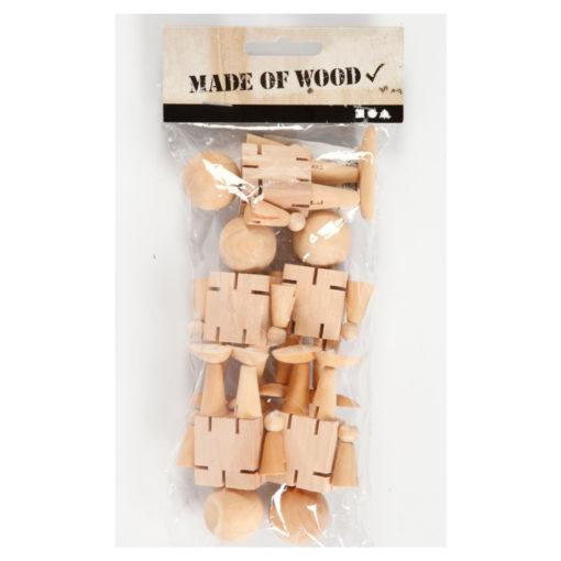5 unbehandelte Holz-Biegepüppchen in Kunststoffbeutel